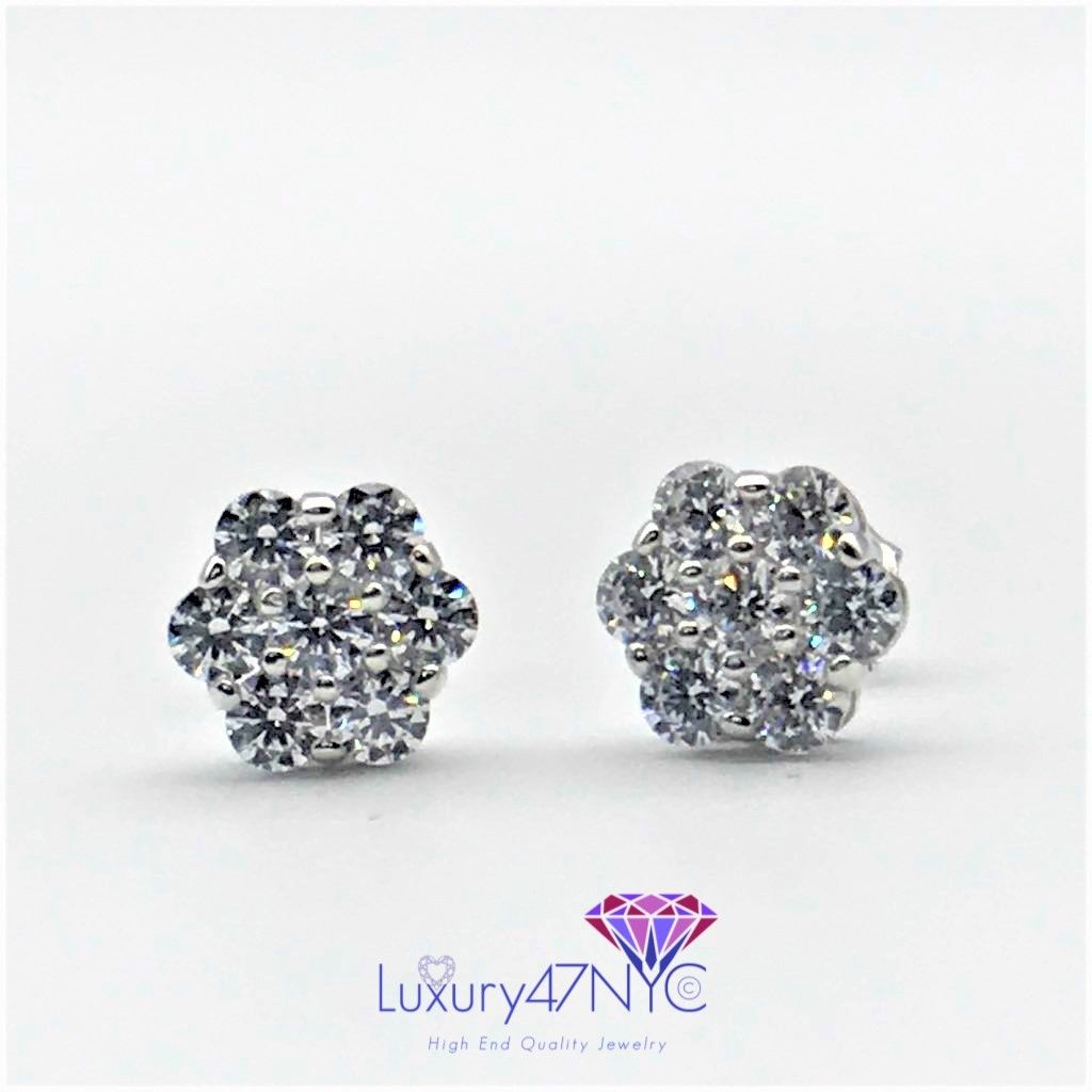 2.CT Brilliant Created Diamond Cluster Earrings 14K White Gold Round Flower Stud