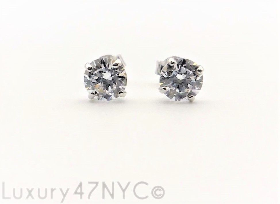 0.25Ct Brilliant Created Diamond Solitaire Earrings 14K Solid White Gold Studs