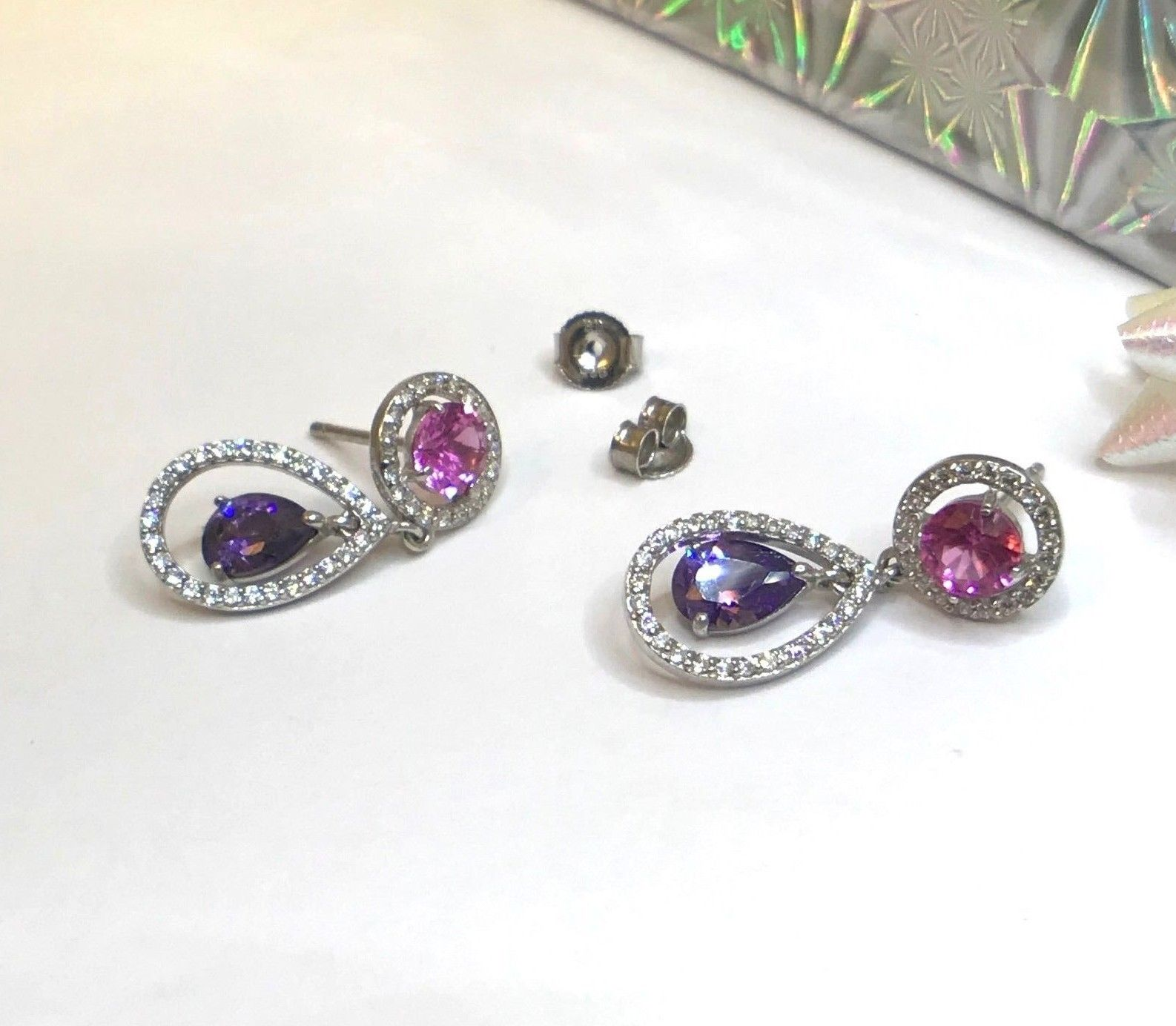 Women 925 Sterling Silver Jewelry Tourmaline Elegant Stud Earrings Fashion Gift