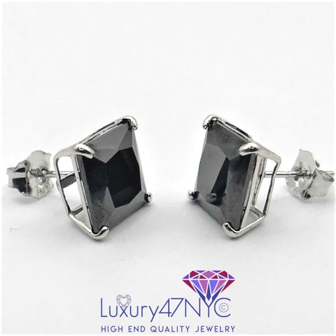2.00 Ct Princess Created Black Diamond Solitaire Earrings 14K Solid White Gold
