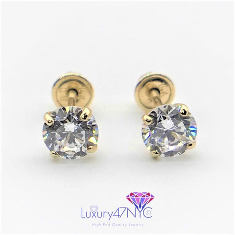 0.12ct Created Diamond Earrings 14K Solid Yellow Gold Solitaire Studs Screwback