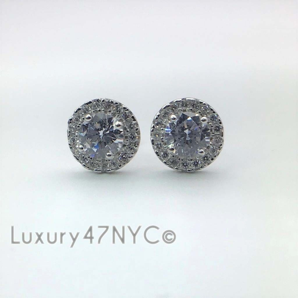 1.00CT Brilliant Created Diamond Halo Stud Earrings 14k White Gold Round Cut