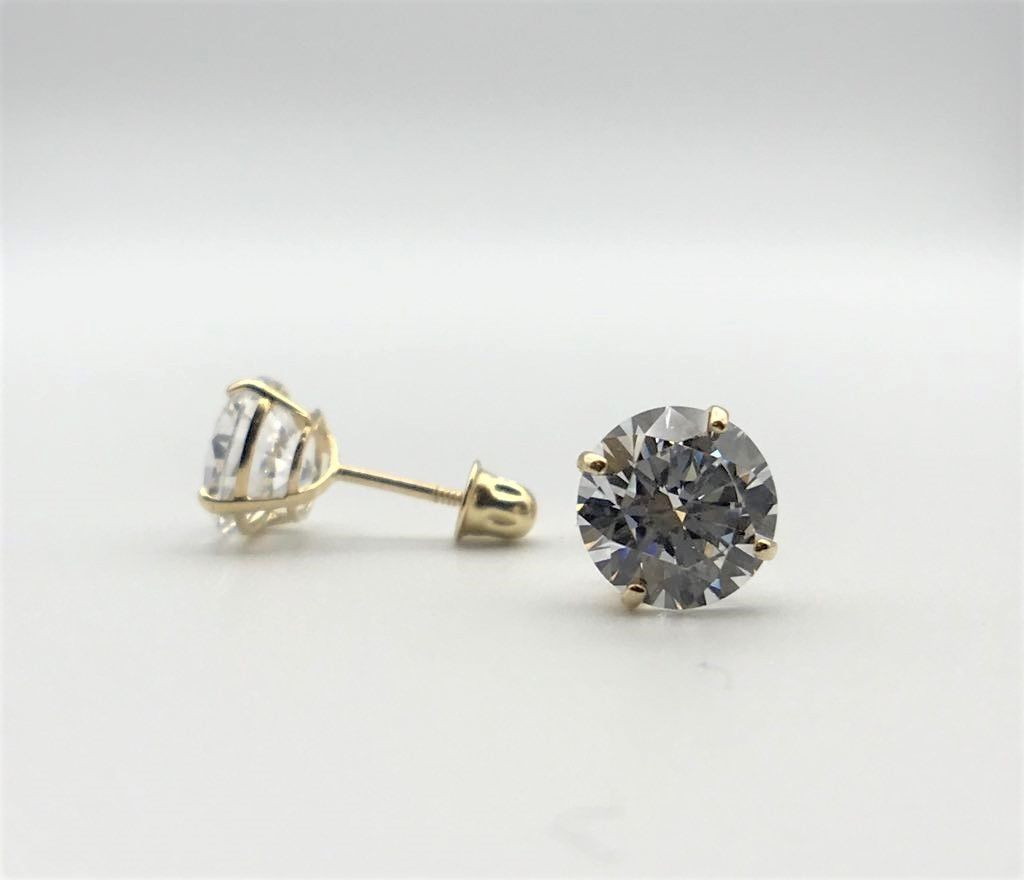 1CT 14K Solid Yellow Gold Round Brilliant Diamond Stud Earrings 5mm Screw Back