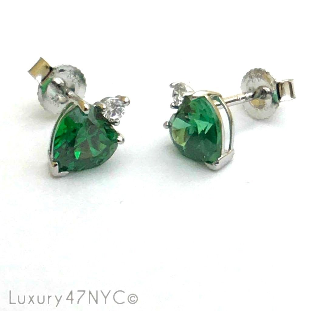 2 CT Green Emerald Pear shape 925 Solid Genuine Sterling Silver Earrings Jewelry