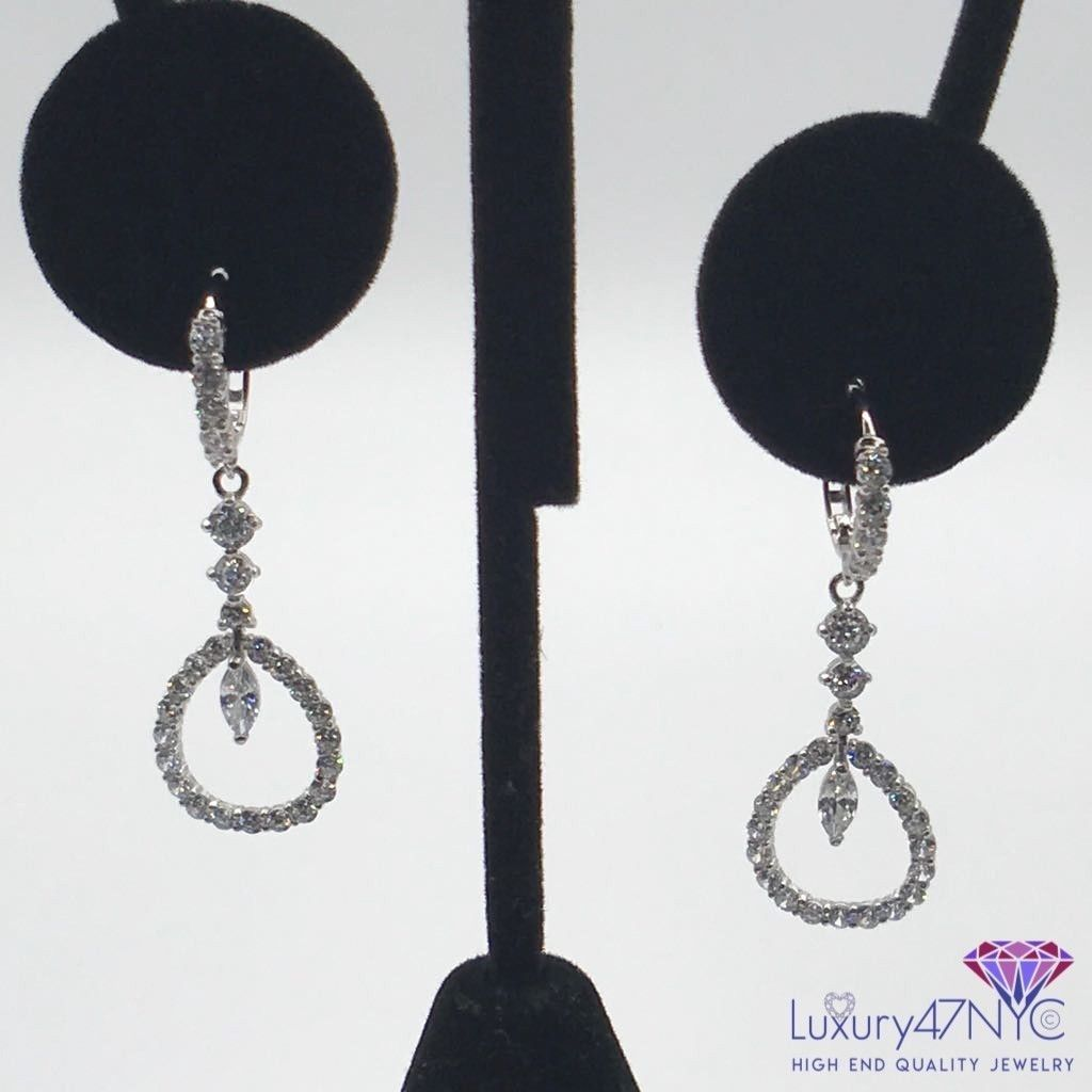 2.0CT Created Diamond Teardrop Dangle Earrings 14k White Gold Elegant Classic