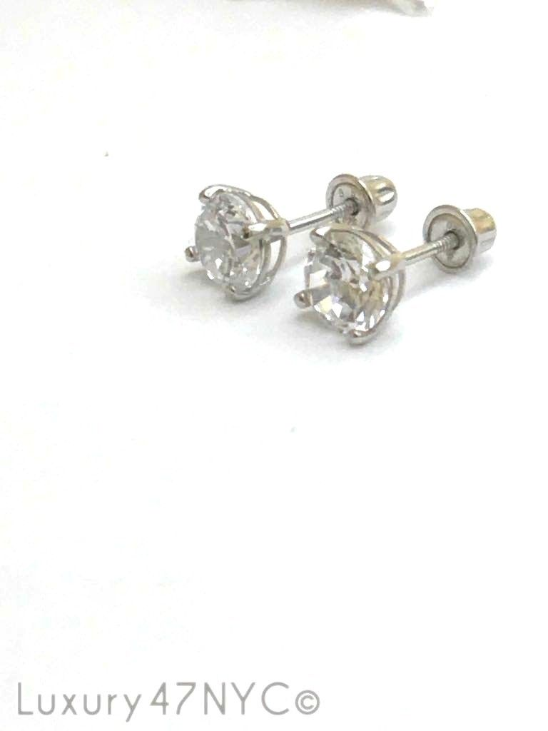 1CT Round Brilliant Diamonds 925 Solid Genuine Sterling Silver Stud Earrings