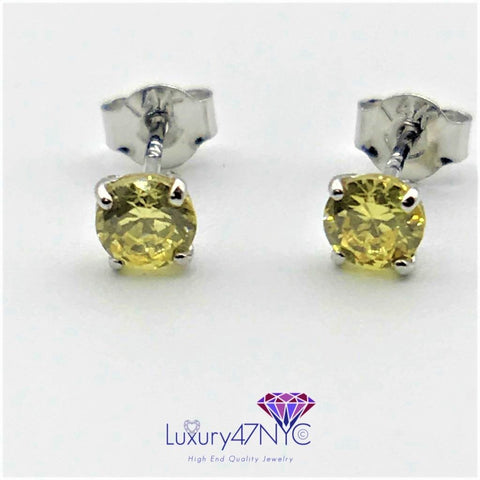 0.50CT Round Brilliant Fancy Yellow Sapphire Studs Earrings 14K White Gold