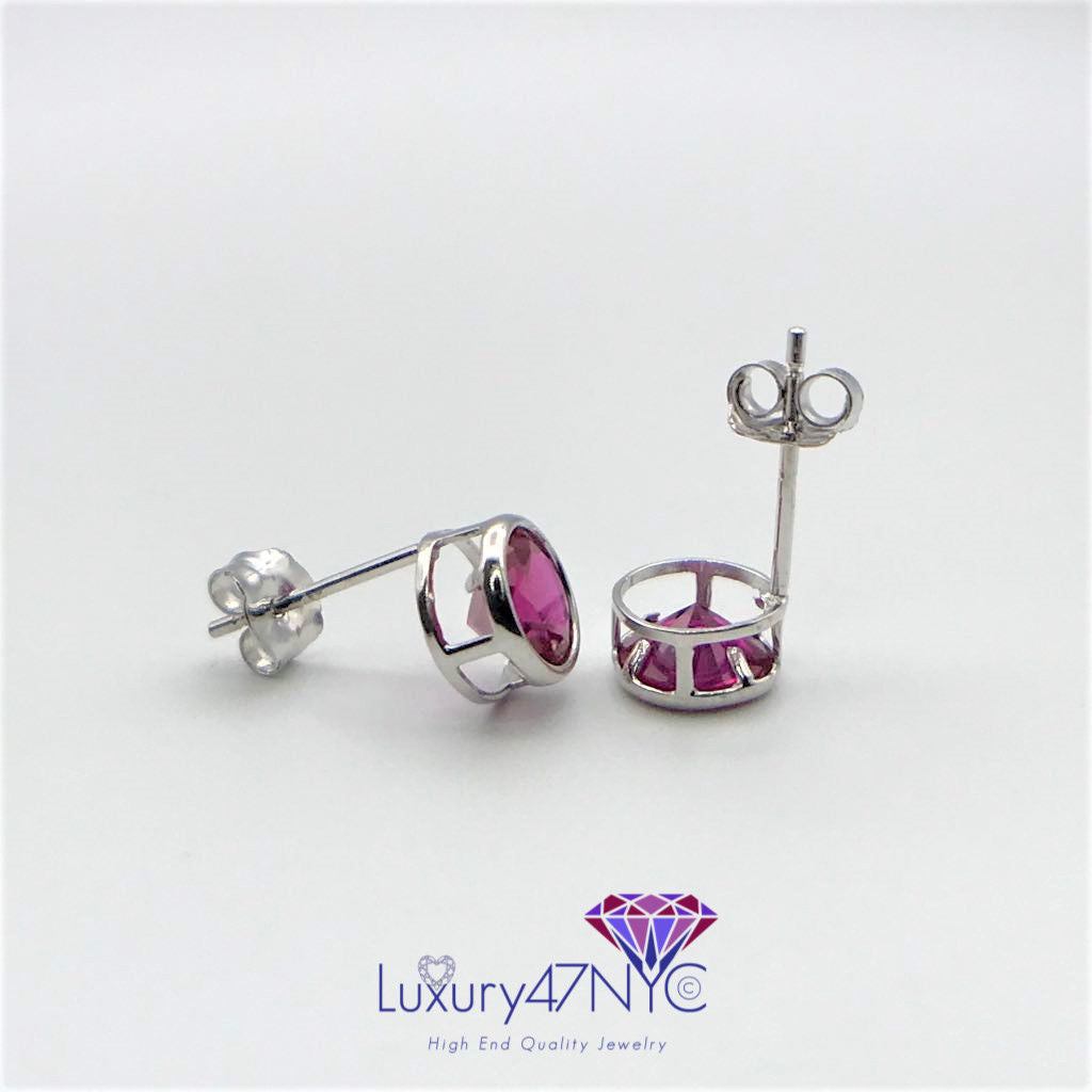 0.50ct Round Brilliant Ruby Bezel Set In 14K Solid White Gold Studs Earrings