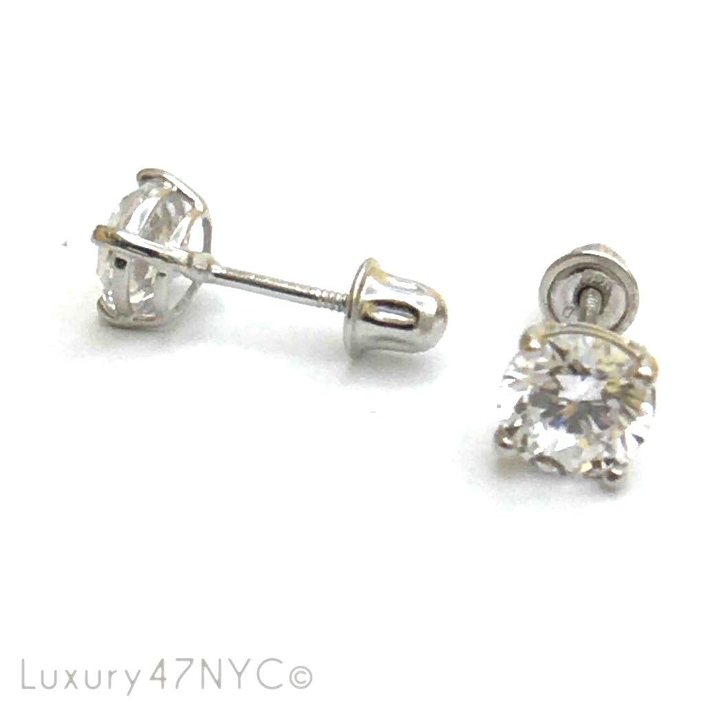 2 CT Round Brilliant Sterling Silver 925 Diamonds Solid Stud Earrings