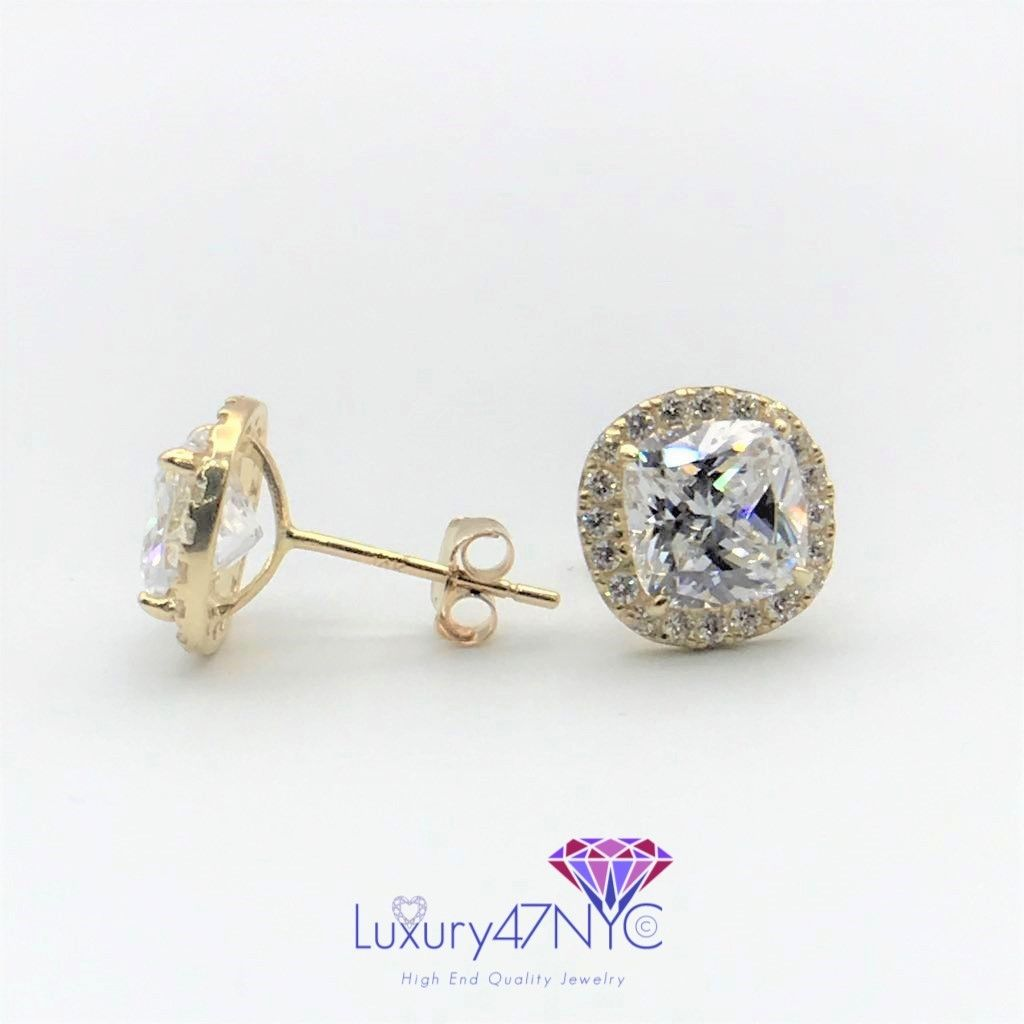 1 CT Cushion & Round Brilliant Diamonds Studs Earrings 14K Yellow Gold Butterfly
