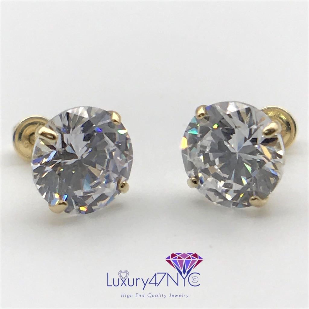 1.00CT Round Cut Created Diamond Earrings 14K Solid Yellow Gold Studs Screw-Back