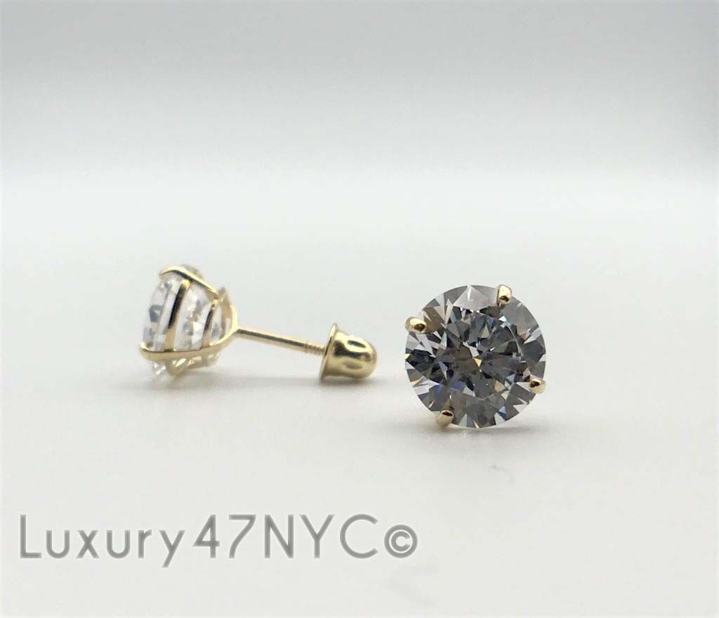 3 CT 14K Solid Yellow Gold Round Brilliant Diamond Stud Earrings 6mm Screw Back
