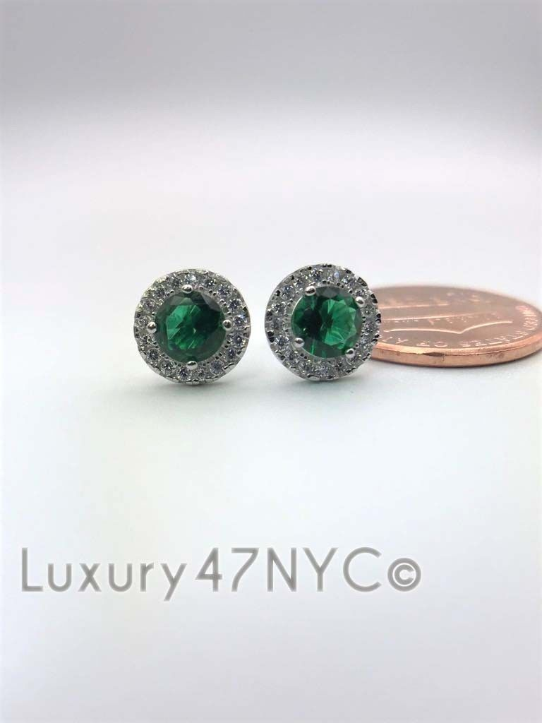 1.CT Halo Green Emerald Created Diamond Stud Earrings 14k White Gold Round Cut