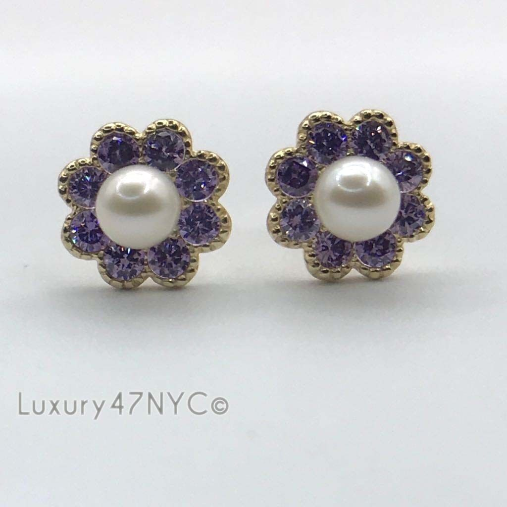 1.00 Ct Purple Sapphire & Pearl Earrings 14k Yellow Gold Flower Studs Screw-Back