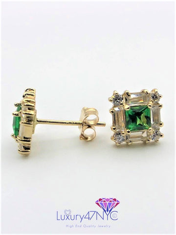 1CT Princess Emerald Baguette Round Diamond Earrings Square Stud 14K Yellow Gold