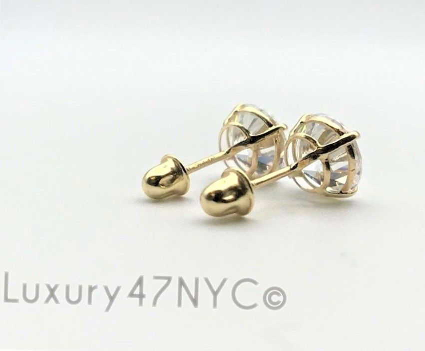 1CT Brilliant Diamond Solitaire Stud Earring Round VVS1 REAL 14K Yellow Gold New