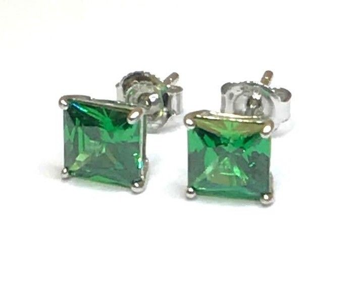 1CT Princess Green Emerald Stud Earrings Square Basket Solitaire Sterling Silver