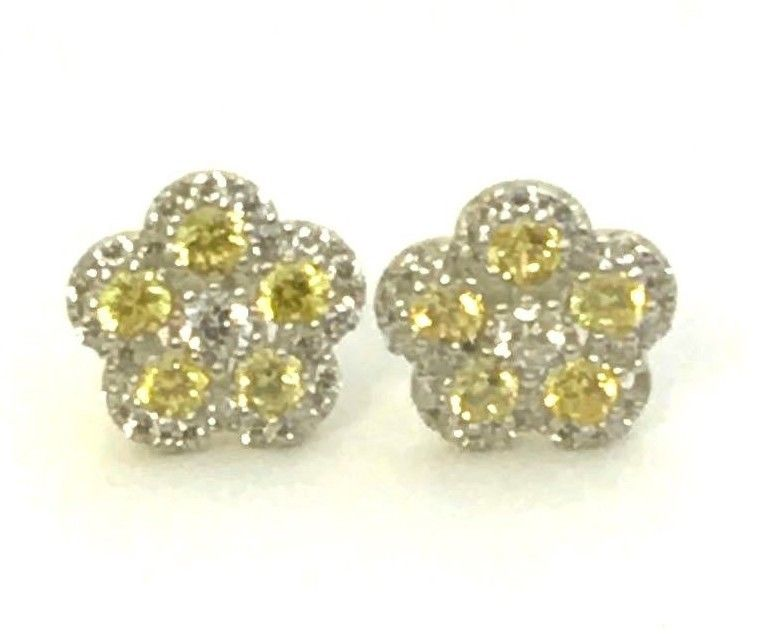 1CT Yellow Sapphire Diamonds 925 Solid Genuine Sterling Silver Earrings Jewelry