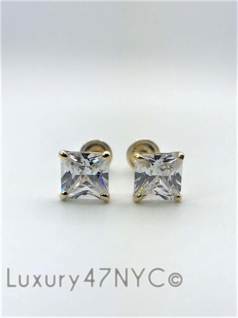 2.00 CT Princess Cut Created Diamond Stud Earrings 14K Yellow Gold Screw back