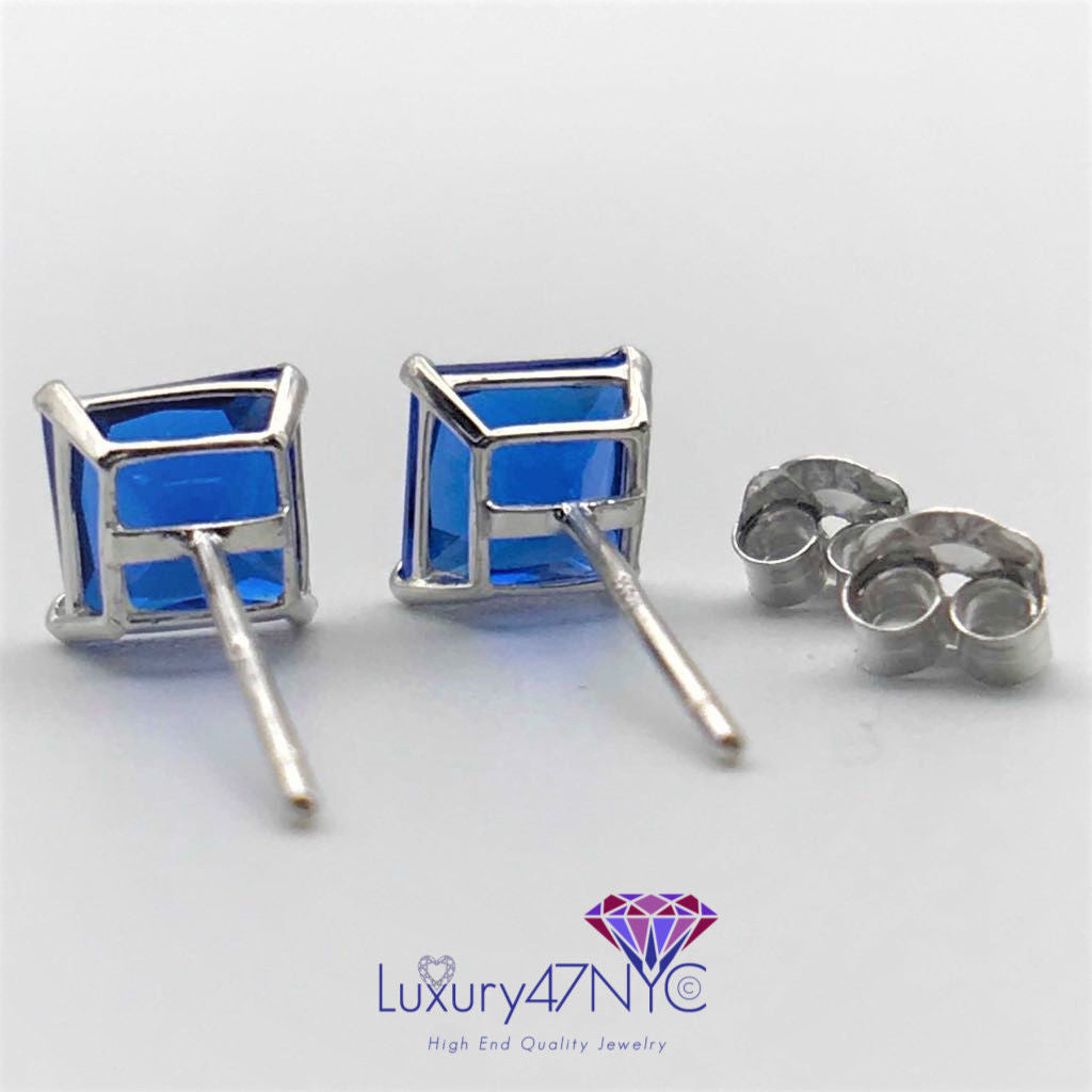 1.5CT Princess Cut Blue Sapphire Studs Earrings Real 14K  White Gold Square Fine