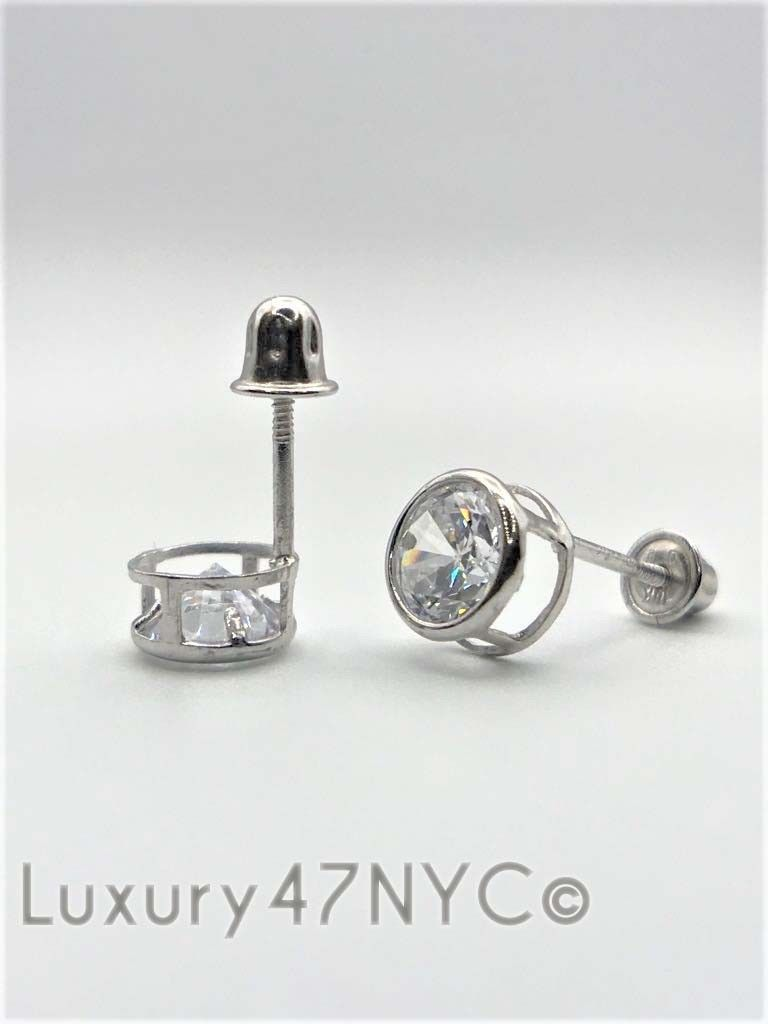 1/2 Carat Round Brilliant Diamond Bezel Stud Earrings 14K Solid White Gold Gift