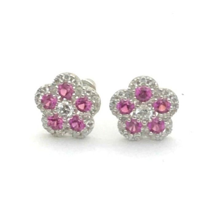 1CT Pink Sapphire Diamonds 925 Solid Genuine Sterling Silver Earrings Jewelry