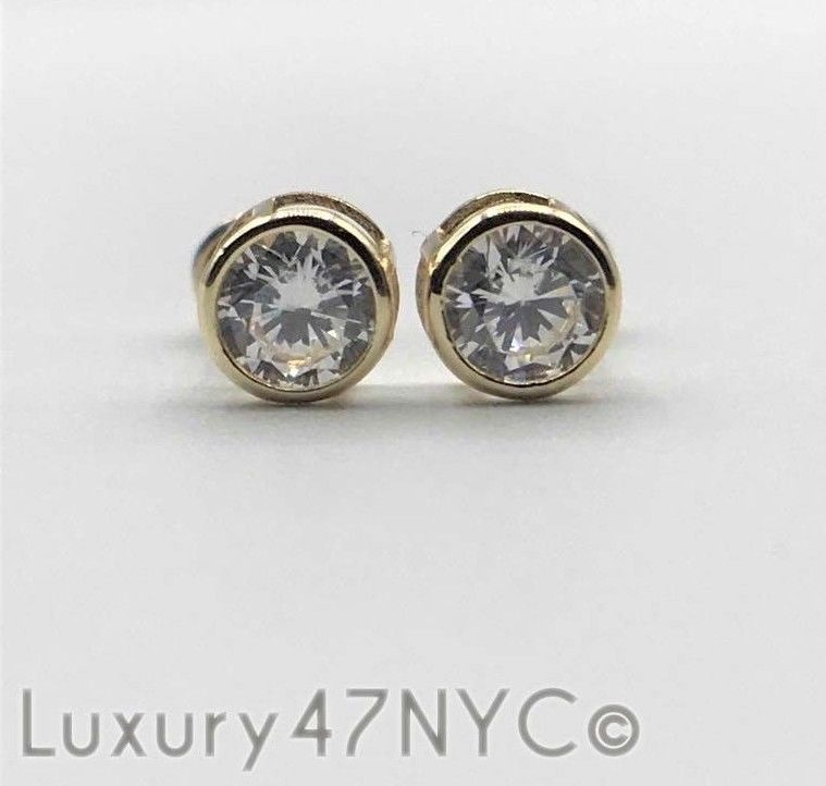 1/2Ct Round Brilliant Created Diamond Bezel Stud Earring 14K Solid Yellow Gold