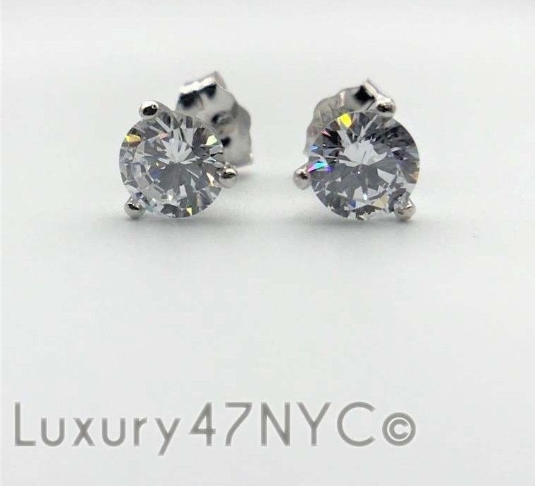3 CT Created Diamond 14K White Gold Solitaire Heavy Martini Prong Stud Earrings