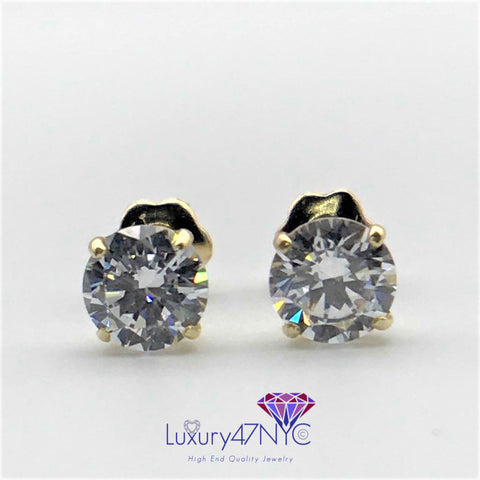 0.25CT Created Diamond Studs Earrings 14K Yellow Gold Round ScrewBack