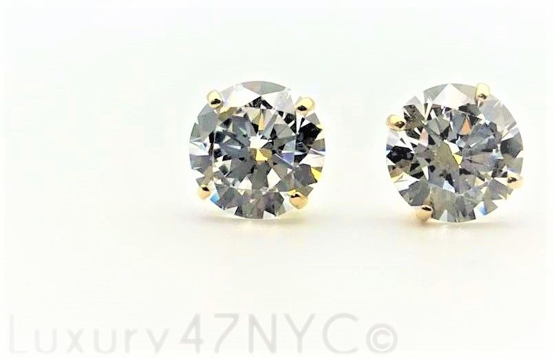 5.5 CT Brilliant Cut Round Stud Earrings 14K Solid Yellow Gold Heavy Basket Fine