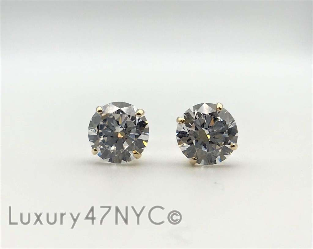1 CT 14K Solid Yellow Gold Round Brilliant Diamond Stud Earrings 5mm Screw Back