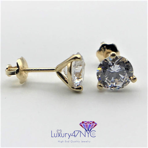1 CT Created Diamond Screwback Martini Stud Earrings 14K Solid Yellow Gold Prong