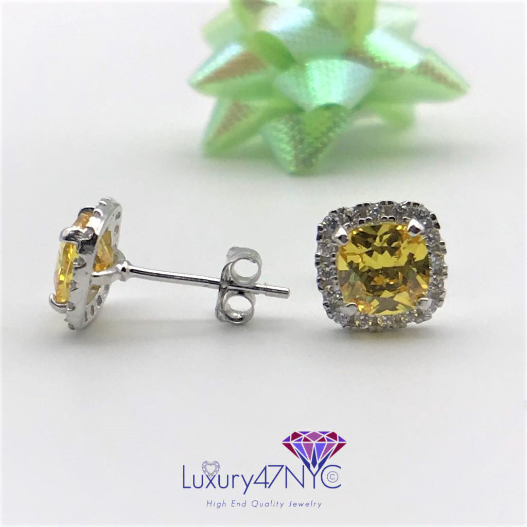 2.00CT Cushion Fancy Yellow Topaz & Diamond Stud Earrings 14K White Gold Sparkly