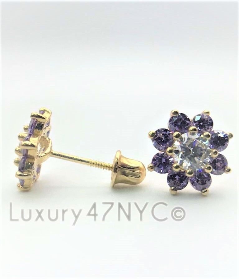 1CT Purple Sapphire Brilliant Flower Stud Diamond Earring 14k Yellow Gold Solid