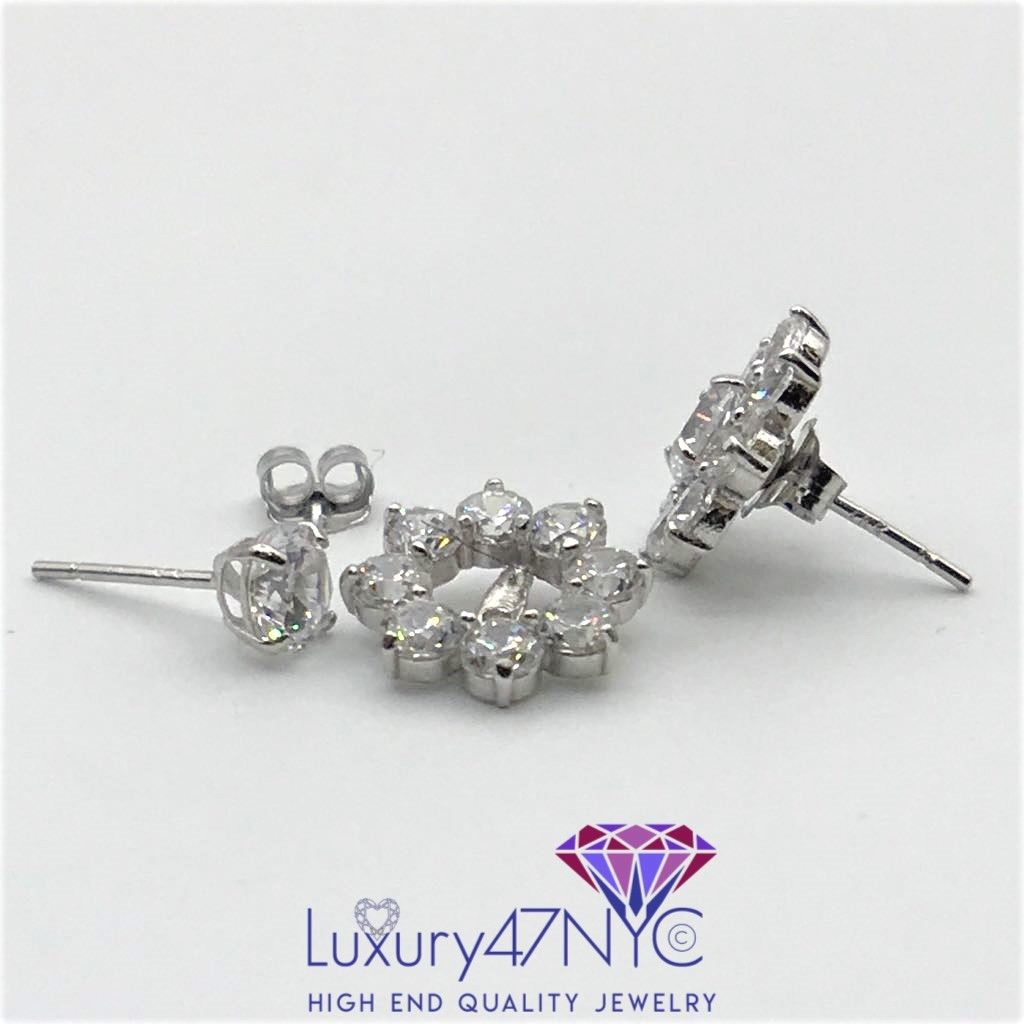 2.50CT 2 in 1 Brilliant Created Diamonds Studs Earring 14k White Gold