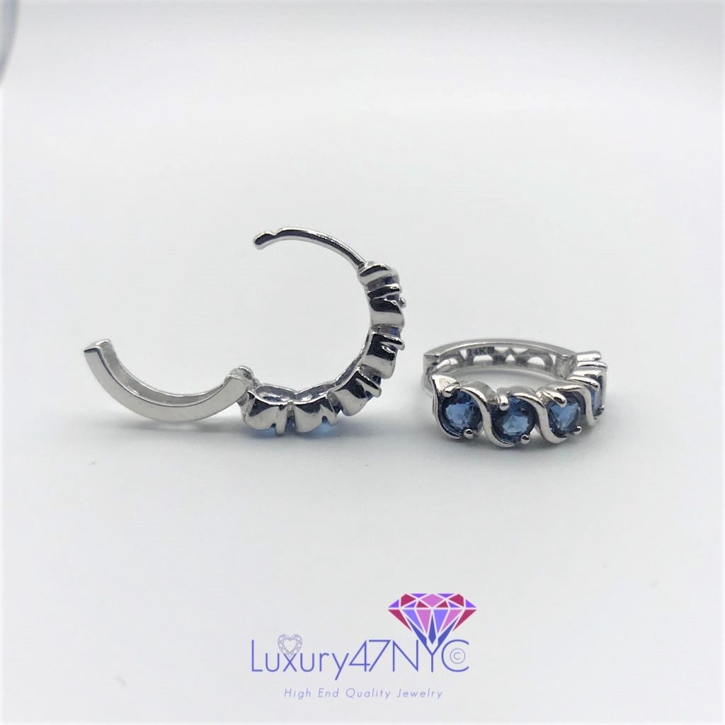 14K Solid White Gold Sparkle Brilliant Blue Sapphire Wave Huggie Drop Earrings