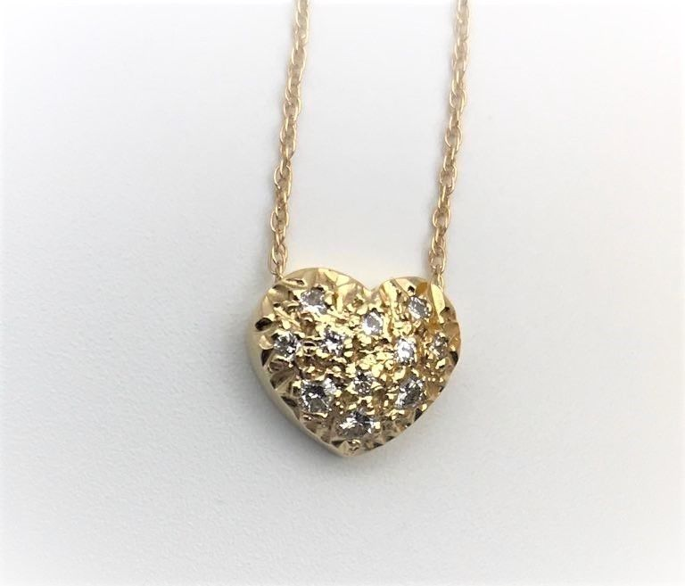 Heart 14K yellow Gold 0.20 CT Natural Round Brilliant Diamonds Necklace Pendant