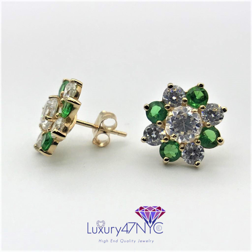 2.50 CTW 2 in 1 Brilliant Emerald & Diamond Studs Earring 14k Yellow Gold