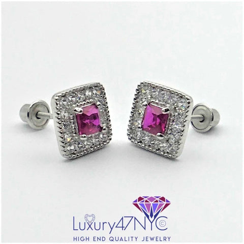 0.50 CT Pink Sapphire Princess Diamond Earrings 14k Yellow Gold Screwback Stud
