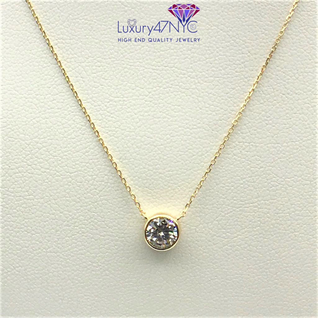 "1CT Brilliant Created Diamond Bezel 16"" Chain Solid 14K Yellow Gold Necklace Set"
