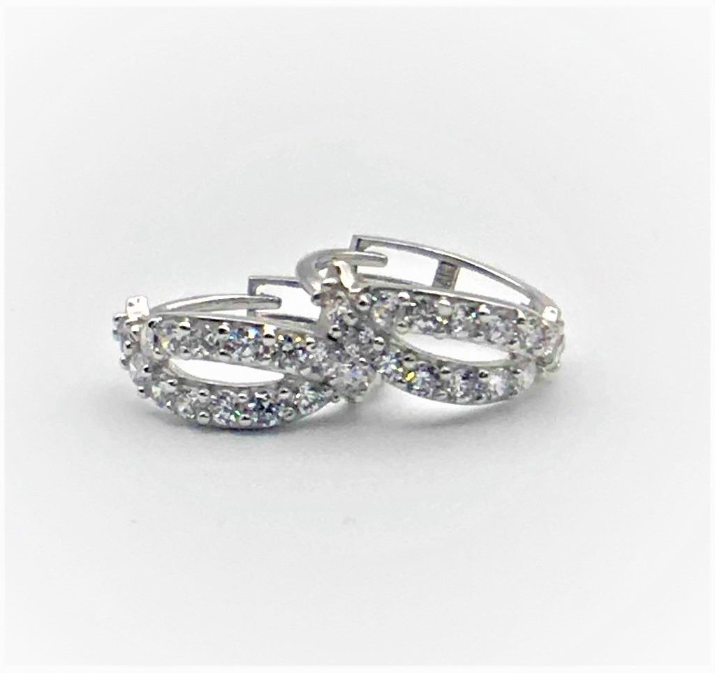 0.40Ct Created Diamond Huggie Hoop Earrings Solid 14K White Gold Round Cut NEW