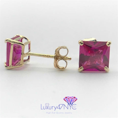1.5CT Princess Cut Ruby Square Studs Earring 14K Real Yellow Gold Brilliant Fine