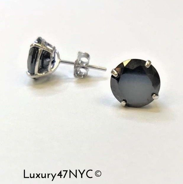 2Ct Brilliant Created Black Diamond Solitaire Stud Earrings Solid 14K White Gold
