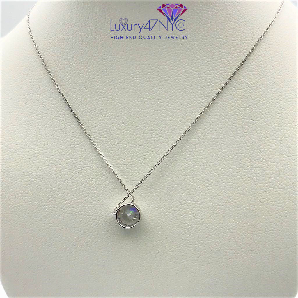1 CT Created Diamond Round Bezel Necklace 14K Solid White Gold Cable Chain