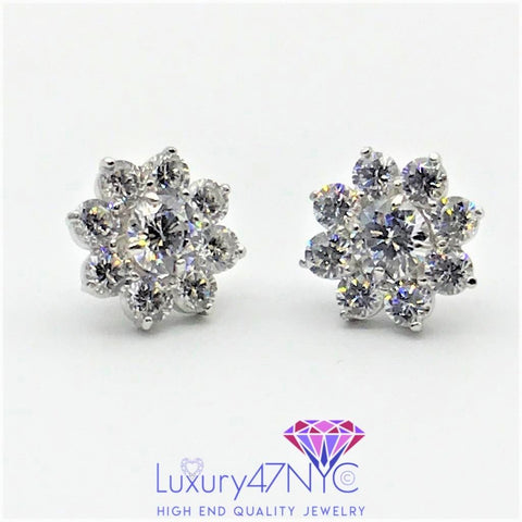 2.50TCW 2 in 1 Brilliant Created Diamonds Studs Earring 14k White Gold