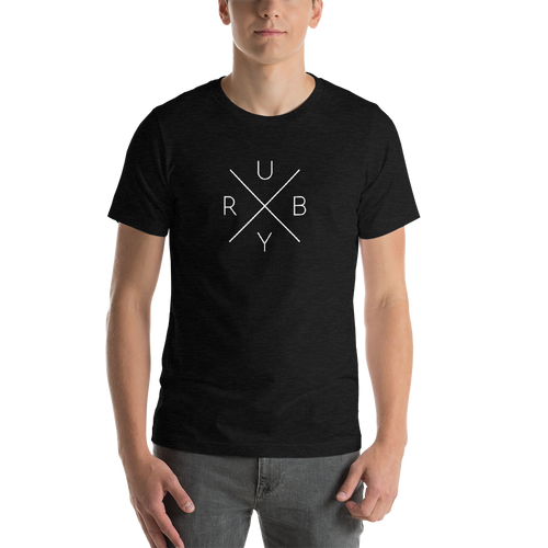 Ruby Programming T-Shirt - Cross with Letters (Unisex) - Programmer Shirt