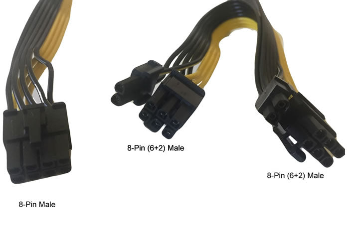 30-inch 8-Pin PCIe Male to Dual PCIe 8-Pin (6+2Pin) Male Graphics Video Card Cable Adapter