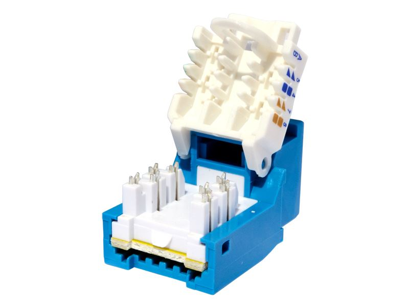 CAT6 Tool-less Keystone Jack 90 Degree 110 UTP Blue