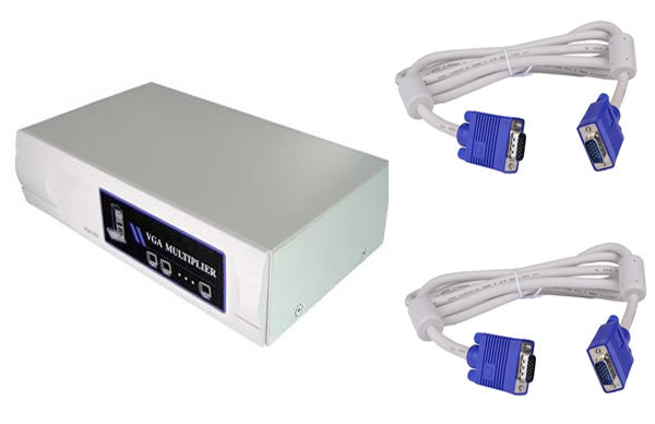 2-Port SVGA VGA Splitter Amplifier Multiplier 400 MHz w/Power Adapter and 2 6Ft VGA Cables