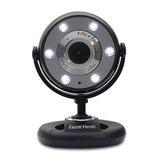 Gear Head WC1300BLK 1.3MP USB 2.0 Webcam w/Night Vision LEDs, Snapshot & Microphone